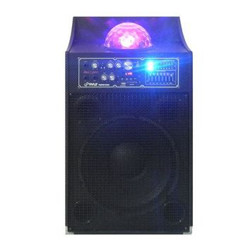 1000 Watt Peak / 500 Watt RMS Disco Jam Powered Two-Way PA Speaker System with USB/SD Readers, FM Radio, 3.5 mm AUX Input, Microphone Inputs and Flashing DJ Lights