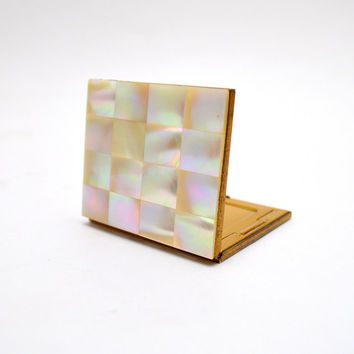 Vintage Mother of Pearl Compact, Mirrored Compact Powder Makeup Case, circa 1950s