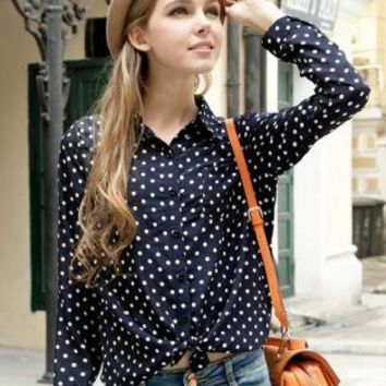 Retro Lapel Wave Point Chiffon Shirt RB001
