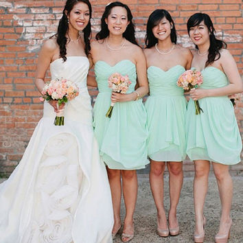 A-line Strapless Sweetheart Neck Sleeveless Ruched Embellished Mini Length Mint Chiffon Short Bridesmaid Dresses,Summer Wedding Party Dresses