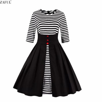 ZAFUL Woman Retro Dresses Vintage Rockabilly Hepburn Striped Print Tunic Big Swing Pleated Ball Grown Plus Size Party Robe Dress