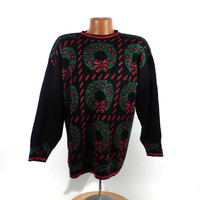 Ugly Christmas Sweater Vintage 1980s Tacky Holiday Party Women's size M