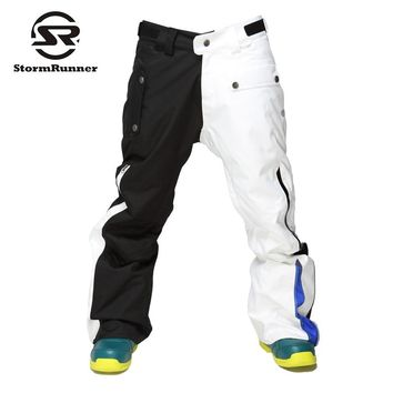 StormRunner  white and  black  color  Snow Ski pants  Men's outdoor sport pants thick trousers for boys