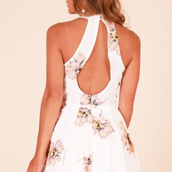 Make It Nice playsuit in white floral Produced By SHOWPO