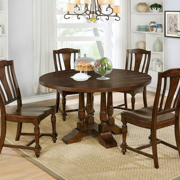 5 pc Griselda collection transitional style rustic plank walnut finish wood round dining table set