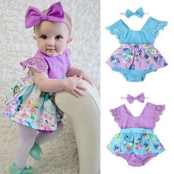 summer infant kids children new Newborn Baby Girls Clothes Sleeveless Lace Romper Dress Jumpsuit+Headband Outfit Baby Clothing