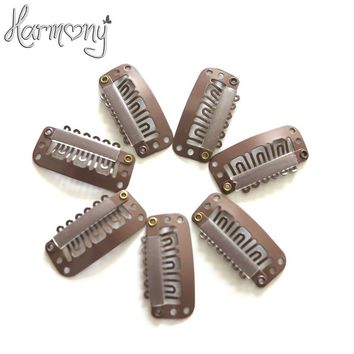 50pcs 2.3cm hair snap clips for extensions U Shape weave toupee wig 6 teeth clips styling tools