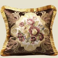 """Brown Float Flower Pillow Embellished With Trim  20""""X20"""""""