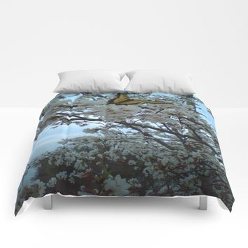 Butterfly on Cherry Tree Comforters by Scott Hervieux