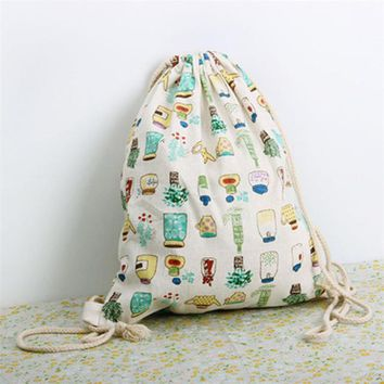 Student Backpack Children TANGIMP Cotton Linen Drawstring Backpacks Student Traveling Luggage Shoes Beach Bags Banana Tree Bottle Boys Girls Sack Gymbag AT_49_3