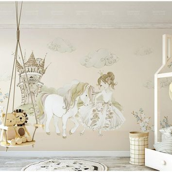 Bacaz Castle Horse 3D Cartoon Princess Wallpaper Mural for Baby Girls Room Background 3d Cartoon Mural Wall paper Wall Decor