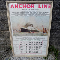 Antique shipping poster - original Anchor line poster calendar - July 1912 - Titanic vintage steamships boating maritime - rare