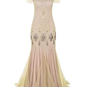 Women 1920s Long Prom Gown Beaded Sequin Art Deco Formal Evening Dress With Sleeve