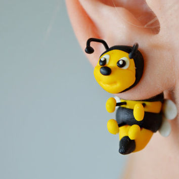 Bees earrings,bee two part stud post,insect double sided earrings,honeybee ear jackets,front back cuff,dangling clinging fake gauge clay