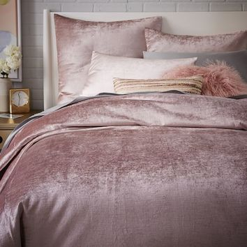 Washed Cotton Luster Velvet Duvet Cover + Shams