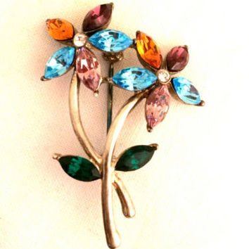 MONET Floral Brooch Flower Bouquet Turquoise Blue Pink Yellow Whimsical Pin
