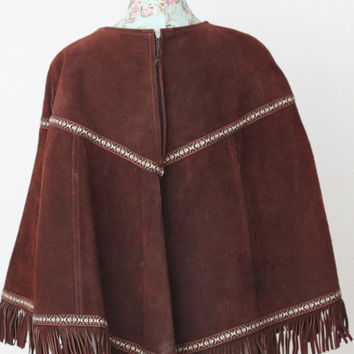 Vintage 70s Southwestern Hippie // Fringe Poncho Cape // Genuine Suede Leather // Zig Zag San Francisco // One Size / Small Medium Large