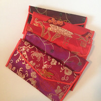 Asian Silk Wallet Red Pouch Hong Bao Chinese New Years Oriental Bamboo Cloud Japanese Floral Silk Patterns DEAD STOCK