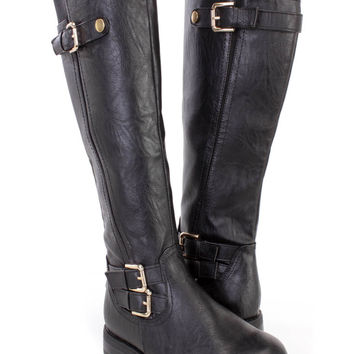 Black Strappy Buckle Riding Boots Faux Leather