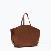 SHOPPER BAG WITH CONTRAST INTERIOR