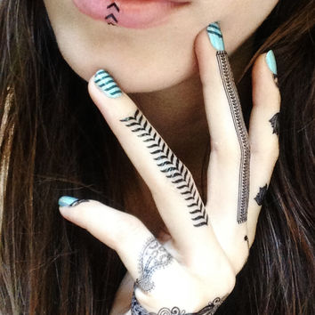 Black Henna Temporary Tattoos. Tribal Jewels.