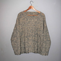 90s grunge slouchy cable knit sweater cream + blue speckled unisex knitted jumper medium