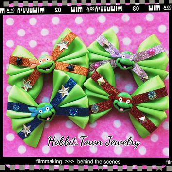 TMNT Ninja Turtle Cartoon Hair Bows