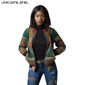 JYConline African Print Bomber Jacket Coats Women Dashiki Jacket Female Autumn Outwear Vintage Long Sleeve Coat Women Clothing