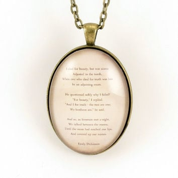 Emily Dickinson Poem Necklace, I Died For Beauty Poetry Pendant, Quote Jewelry