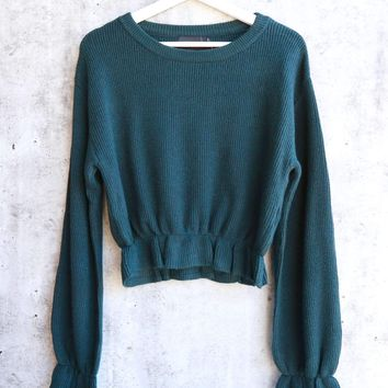 MINKPINK - Maddie Frill Hem Knit Cropped Sweater - Emerald