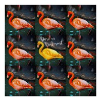 """Dare"" Quote Orange Pink & Yellow Flamingos Photo Poster"