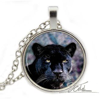Black Panther Necklace - Animal Nature Picture Photo Art Glass