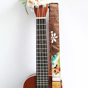 Ukulele strap (ribbon lei flower included)/ hula girl brown B/ hawaiian fabric /ukulele accessory / instrument strap