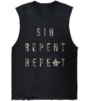 Sin Repent Repeat - Occult Tshirt - Grunge Style - Black Muscle Tee
