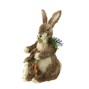 "15.5"" Bunny Mom and Son with Flower Necklace and Carrot Figures"