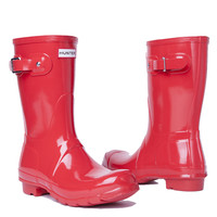 Hunter Original Short Gloss Rain Boots in Pillar Box Red