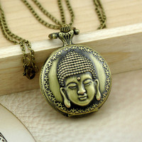 Vintage Buddha Pocket Watch Pendant Necklace