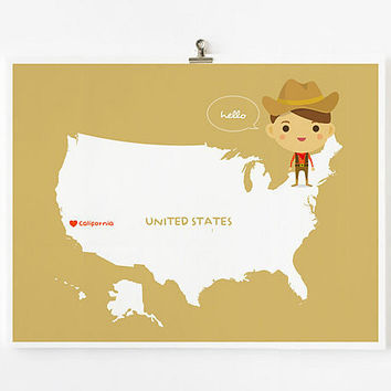 Personalized Custom United States Map with adorable by loopzart