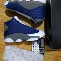Nike Air Jordan Retro 13 Blue white Grey Metallic Basketball Shoes