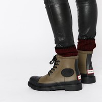 Hunter Original Bullseye Derby Khaki Lace Up Wellington Boots