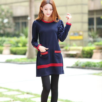 2016 new style Autumn Winter fashion women clothing loose Long-sleeved cotton casual dress elegant dresses female
