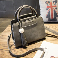 Women's Retro Gray Leather Handbag Shoulder Bag