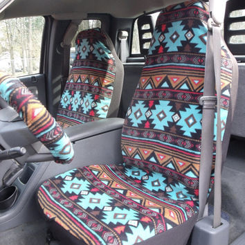 1 Set of Native Peace Stripe Turquise Print Car Seat Covers and Steering Wheel Cover, Custom made.