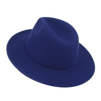 42d01b637b209 Vintage Wool Men s Solid Color Wide Brim Felt Hat by Gemvie