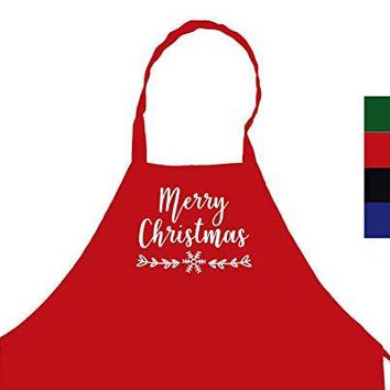 Merry Christmas Snowflake Chef's Funny Cooking Apron Kitchen, BBQ Grill, Breathable, Machine Washable