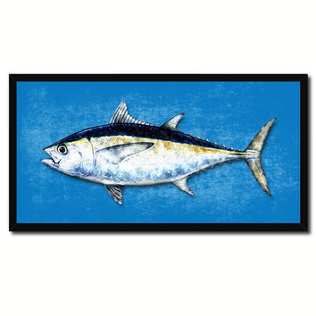 Blackfin Tuna Fish Blue Canvas Print Picture Frame Gifts Home Decor Nautical Wall Art