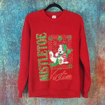 90s Ugly Christmas Sweatshirt Vintage Mistletoe Victim Bulldog Tacky Sweater Holiday Crewneck Pullover Jumper Retro Raglan Xmas Office Party