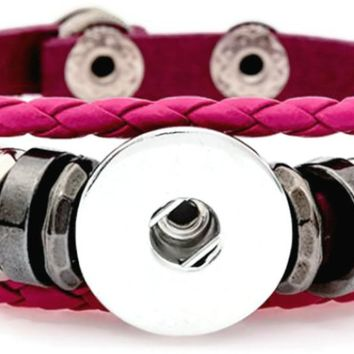 Hot Pink DIY Leather Bracelet Multiple Colors for 18MM - 20MM Snap Jewelry Build Your Own Unique