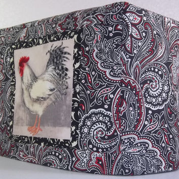 Rooster Toaster Cover - 2 Slice Toaster Cover - Red and Black Paisley