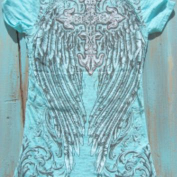 western angel wing t shirts with rhinestones | Elusive Cowgirl